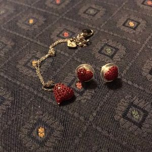Jewelry - LIKE NEW Red Heart Necklace and Matching Earrings
